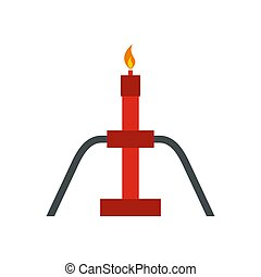 Burning oil gas flare icon, flat style