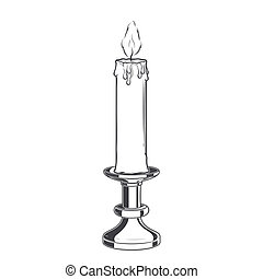 Burning old candle and vintage candlestick isolated on a white background. Monochromatic Line art. Retro design.