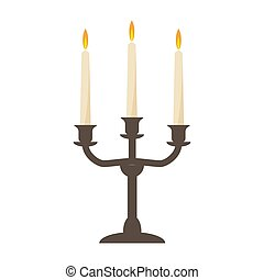 burning old candle vintage vector candlestick. Isolated On White Background