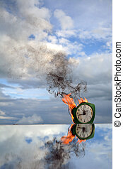 Burning old clock on mirror on sky background, end of time