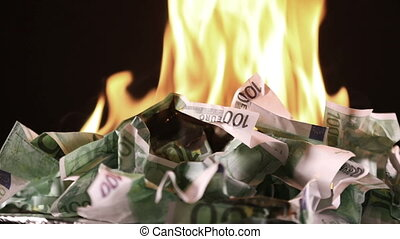 Burning one hundred Euro banknotes - Bunch of burning one...