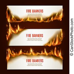 Burning paper horizontal banners, vector blank pages with fire and sparks. Isolated white conflagrant cards template for advertising, Realistic 3d flaming frames, burning smoldering paper sheets set
