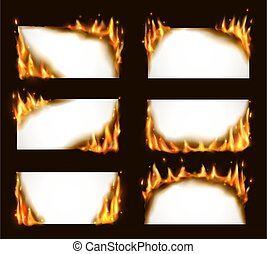 Burning paper banners, vector blank pages with fire tongues and sparks. Realistic 3d flaming frames, burning smoldering paper sheets. Isolated white conflagrant cards template for advertising set