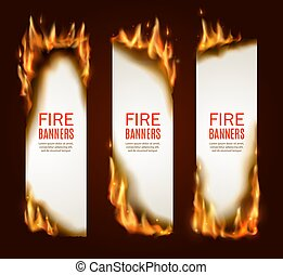 Burning paper vertical banners, vector pages with realistic fire, sparks and embers. Blank vertical conflagrant cards, templates for advertising, isolated flaming frames. Burning paper sheets set