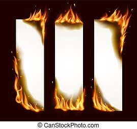 Burning paper vertical banners, vector pages with realistic fire, sparks and embers. Blank conflagrant cards, templates for advertising, isolated flaming empty frames. Burning paper sheets set