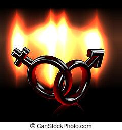 Burning passion sexes symbols