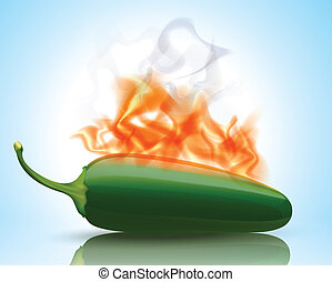 burning, peper, warme, jalapeno