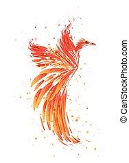 Burning Phoenix on white