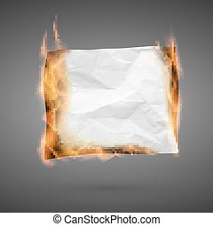 Burning piece of crumpled paper with copy space. crumpled paper blank. Crumpled paper texture in fire. Vector illustration isolated on dark background