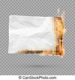 Burning piece of paper with copy space. crumpled paper blank. Vector illustration isolated on transparent background