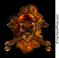 Burning Pirate Skull - A flaming scorching hot pirate skull...