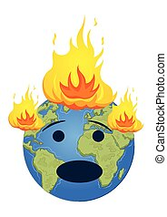 Burning planet Earth. Global warming concept
