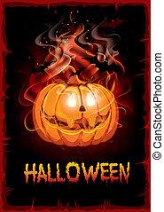 Burning pumpkin. Halloween background, vector.