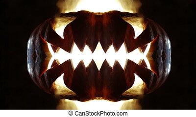 Burning pumpkin on Halloween. Looped