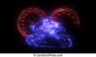 Burning Race Bike Motorcycle Animation Logo Graphic Element...