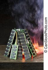 burning random access memory in dark background