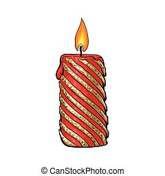 Burning red and gold colored Christmas candle