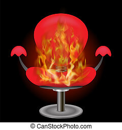 Burning Red Armchair with Fire Flame Background
