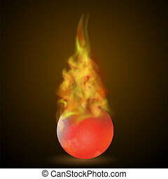 Burning Red Ball on Fire Flame