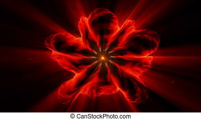 Burning red fiery flower with rays of light