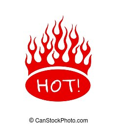 Burning red fire flame on oval sign hot for menu