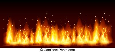 Burning red hot sparks fly from large fire in the night sky. Vector template with flame and particles. Lag Baomer bonfire holiday symbol.