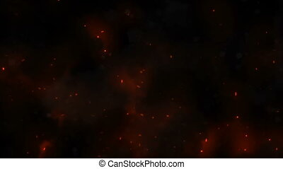 Burning red hot sparks rise from large fire in the night sky. Beautiful abstract background on the theme of fire, light and life. Fiery orange glowing flying particles over black background