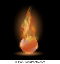 Burning Red Sphere. Ball on Fire Flame