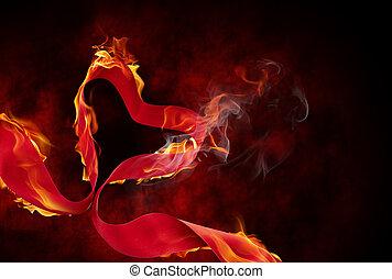 burning ribbon - burning red ribbon on the black background