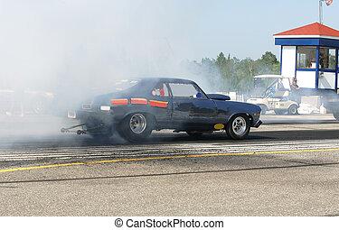 burning rubber - taken at elliot lake drag races