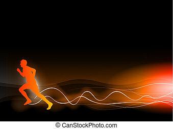 burning runner on the dark