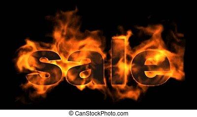 burning sale text, hot sale.