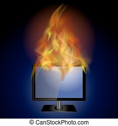 Burning Screen Monitor with Fire Flame