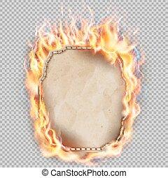 Burning sheet of paper. EPS 10