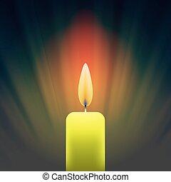 Burning Single Yellow Candle