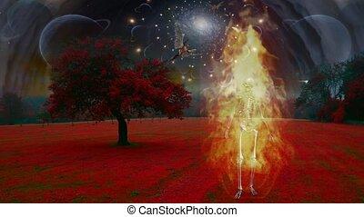 Burning skeleton in surreal landscape. Angels fly in the sky