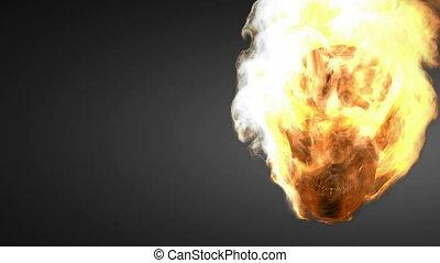 burning skull. Alpha matted