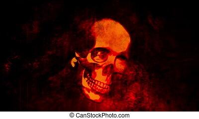 Burning skull horror grunge loop