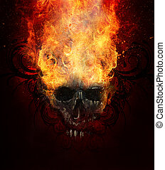 Burning skull. Sketch of tattoo art, fire with tribal flourishes
