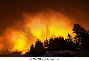 Burning Slopes - Vivid Orange Sky with Pine Tree Silhouettes