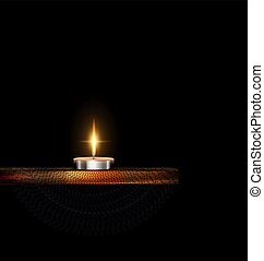 burning small candle with stand and veil