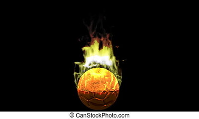 burning soccer ball. alpha channel, Chroma key - burning...