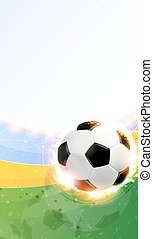 Burning soccer ball on playing field