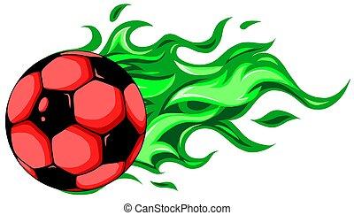 burning soccer ball on white background vector