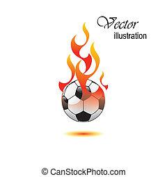 Burning soccer ball on white