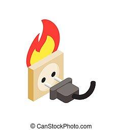 Burning socket isometric 3d icon