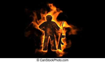 burning soldier with machine gun,fire war sign.
