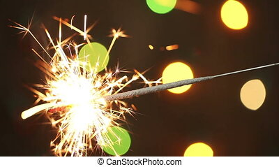 burning sparkler. background