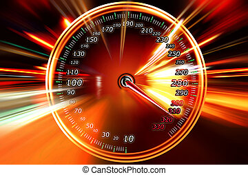 burning speedometer - burning in the background of the...