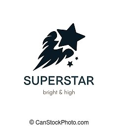 Burning Star flat vector logo concept
